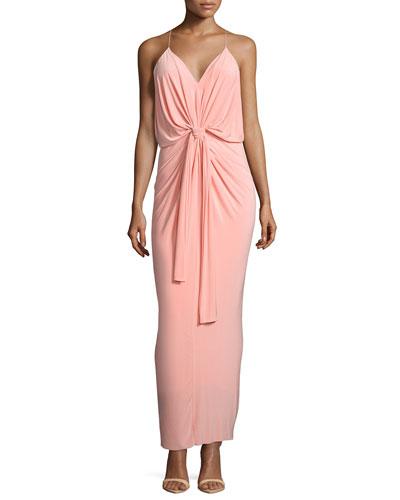 Sleeveless Tie-Front Maxi Dress, Blush