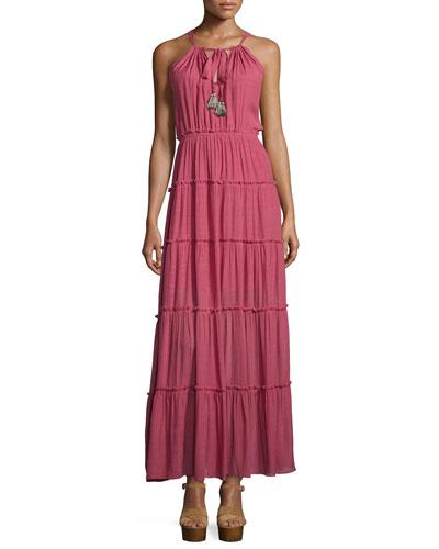 Sleeveless Tiered Maxi Dress, Mauve