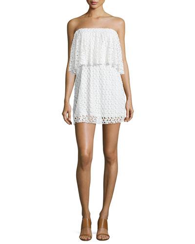 Strapless Lace Mini Dress, Ivory