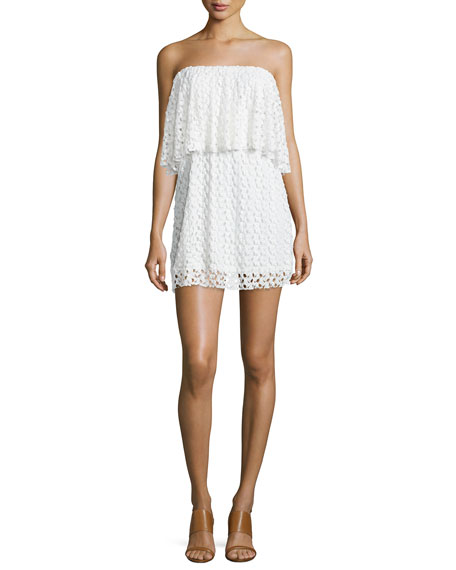 T Bags Strapless Lace Mini Dress, Ivory
