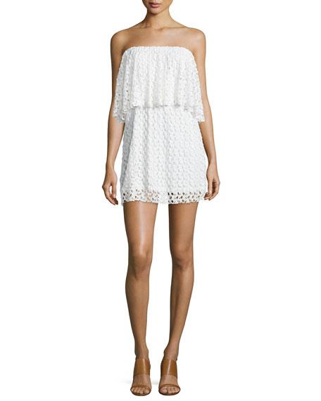 T Bags Strapless Lace Mini Dress, Ivory