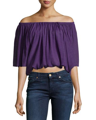 Off-The-Shoulder Crop Top, Violet