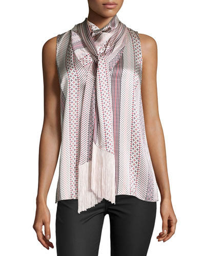 Neves Scarf-Neck Sleeveless Top, Dot Stripe Light