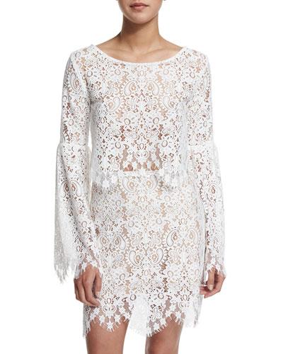 Vika Long-Sleeve Lace Crop Top, Ivory