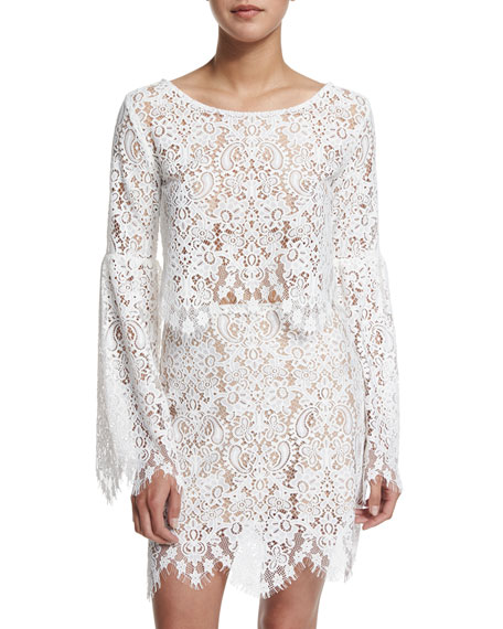 Vika Long-Sleeve Lace Crop Top, Ivory
