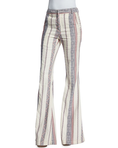 Striped Cotton/Linen Flare-Leg Pants, Ivory Multi