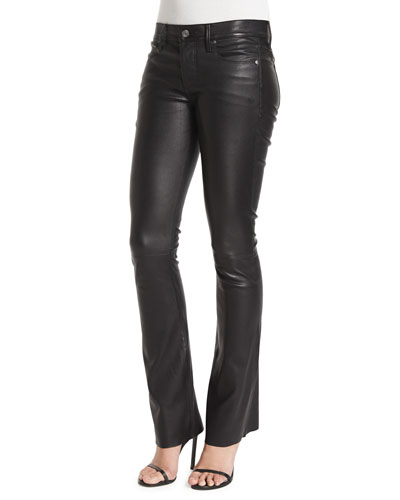 Jackson Leather Boot-Cut Pants, Black