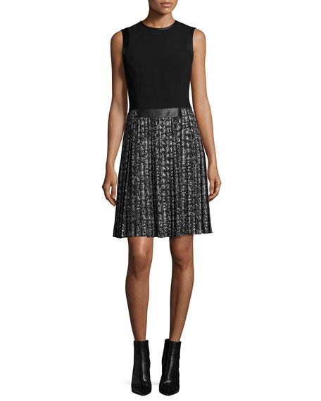 michael kors sleeveless pleated skirt dress black