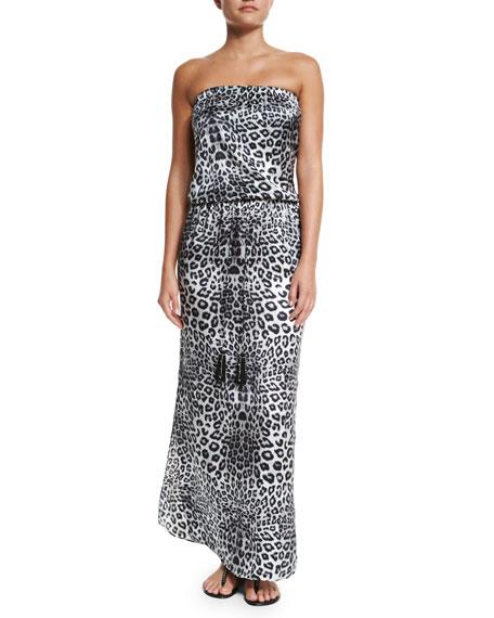 Marie France Van Damme Animal-Print Sleeveless Maxi Dress