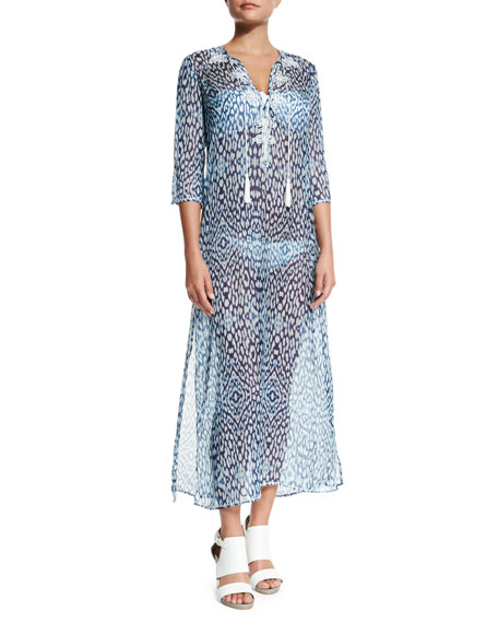 Marie France Van Damme Embroidered Caftan Coverup