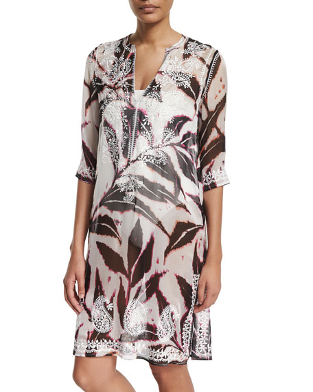 Marie France Van Damme Embroidered-Front Printed Mid-Length Tunic