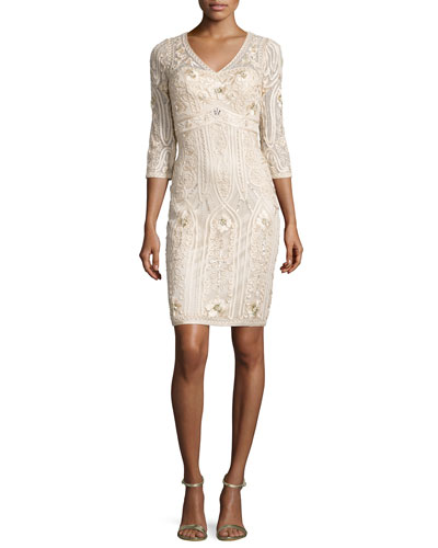 3/4-Sleeve Embroidered Sheath Dress