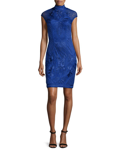 Cap-Sleeve Beaded Sheath Cocktail Dress