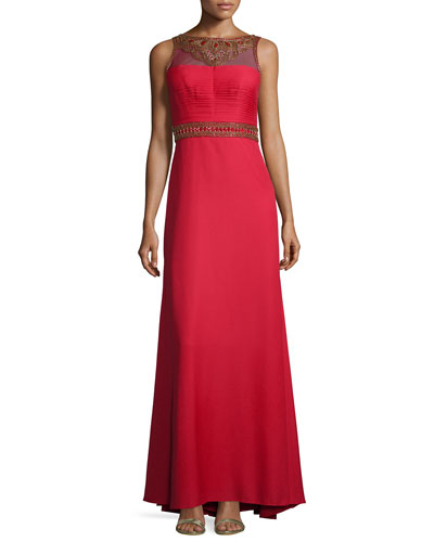 Sleeveless Embroidered & Sequined Gown