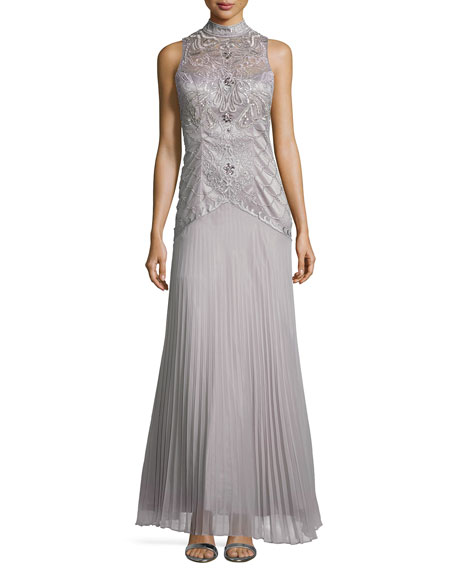 Sue Wong High-Neck Embroidered Pleated Gown