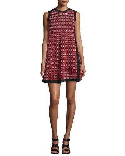 Sleeveless A-Line Mini Dress, Red