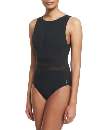 High-Neck Mesh Panel One-Piece Swimsuit