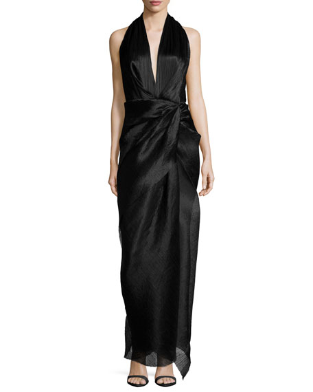Camilla and Marc Sleeveless V-Neck Halter Gown