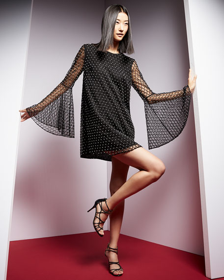 Camilla & Marc Long-Sleeve Beaded Net Tulle Dress