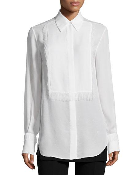 3.1 Phillip Lim Silk Tuxedo Shirt with Eyelash Fringe, White