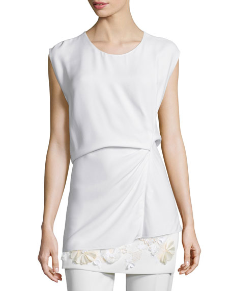 3.1 Phillip Lim Ruched Asymmetric Shell Top, White