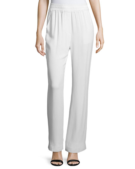 3.1 Phillip Lim Shirred-Waist Straight-Leg Pants, Antique White