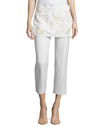 Cropped Apron Pants with Floral Embellishment, White
