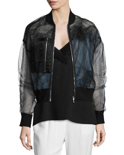 Organza Lace Bomber Jacket, Black