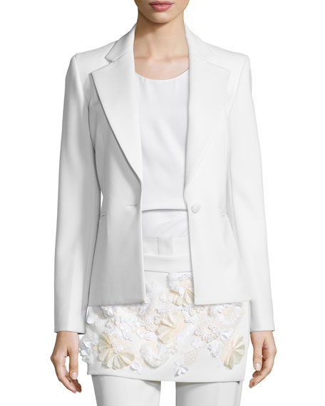 3.1 Phillip Lim One-Button Welt-Pocket Blazer, White