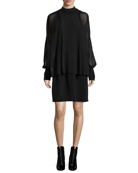 3.1 Phillip Lim Silk Dolman-Sleeve Layered Dress, Black
