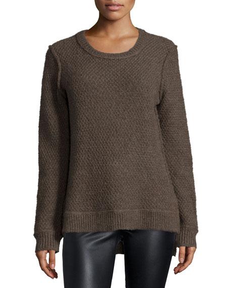 Michael Kors Collection Long-Sleeve Split-Hem Sweater, Chestnut