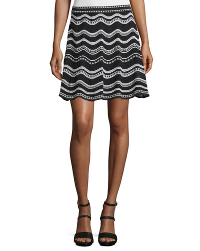 Star-Striped A-Line Skirt, Black