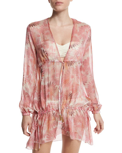Muslin Floral-Print Sheer Coverup