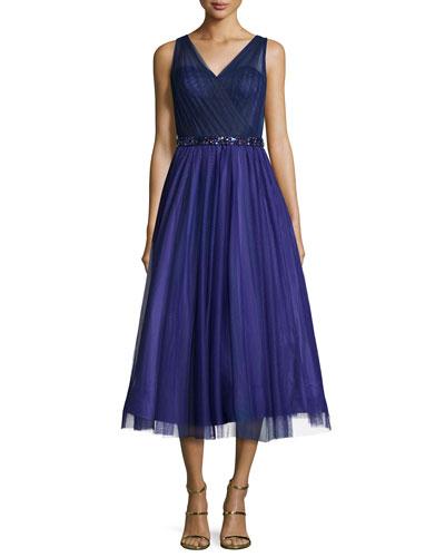 Sleeveless V-Neck Tea Length Dress