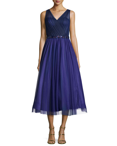 ML Monique Lhuillier Sleeveless V-Neck Tea Length Dress