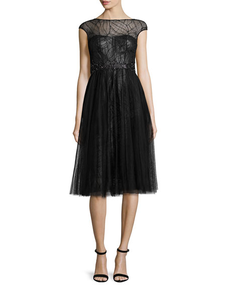 ML Monique Lhuillier Cap-Sleeve Tulle Cocktail Dress