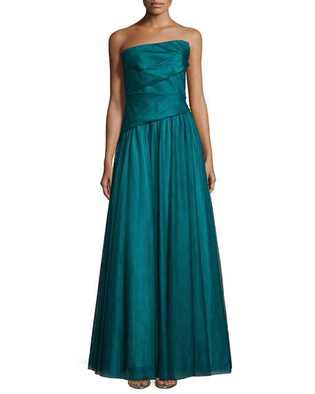 Monique Lhuillier Asymmetric Strapless Full-Skirt Gown