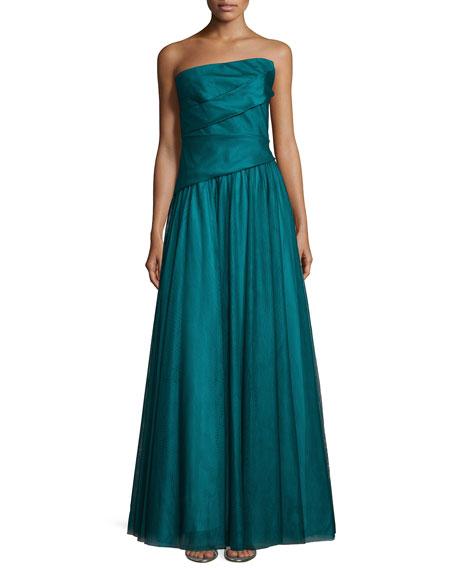 Monique Lhuillier Asymmetric Strapless Full-Skirt Gown