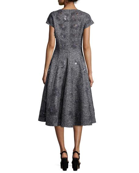 Cap-Sleeve Embellished Dress, Charcoal