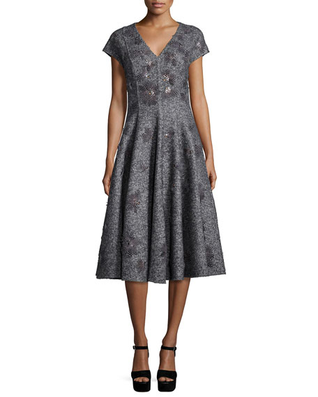 Michael Kors Collection Cap-Sleeve Embellished Dress, Charcoal