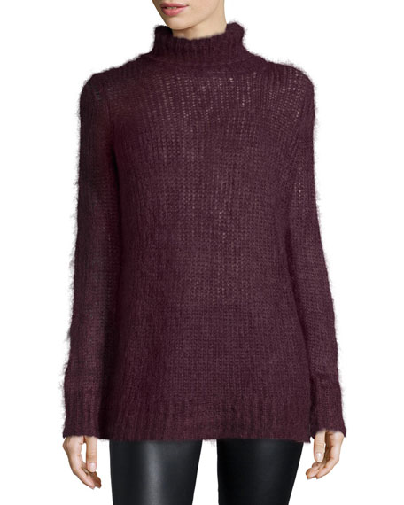 Michael Kors Collection Mohair-Blend Turtleneck Sweater, Bordeaux