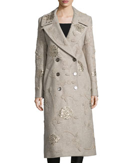 Embroidered Double-Breasted Long Coat, Taupe