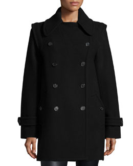 Double-Breasted Convertible Peacoat, Black