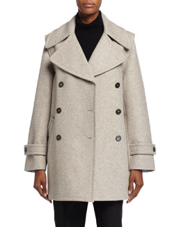 Double-Breasted Convertible Peacoat, Taupe