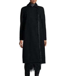 Long-Sleeve Fur-Trim Balmacaan Coat, Black