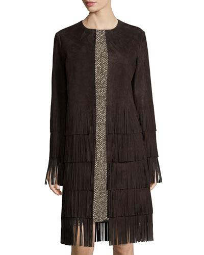 Long-Sleeve Suede Layered-Fringe Coat, Chocolate
