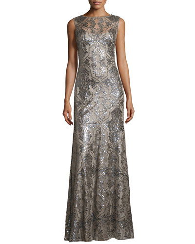 Sleeveless Sequined Deco Lace Gown