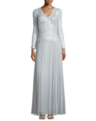 Long-Sleeve Pleated Skirt Gown