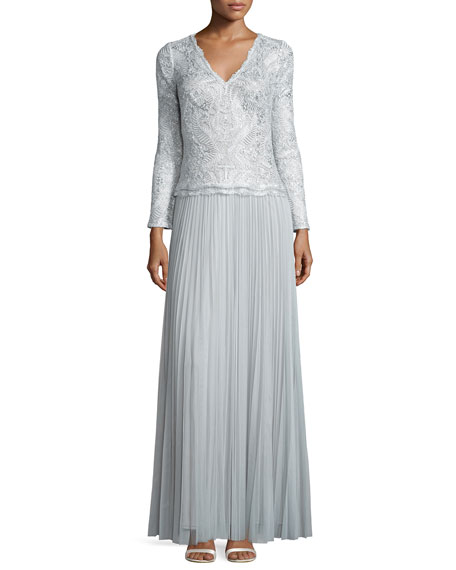 Tadashi Shoji Long-Sleeve Pleated Skirt Gown