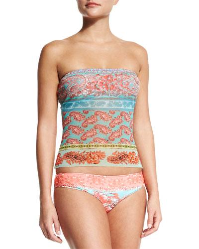 Paisley-Print Two-Piece Bandini Swimsuit, Orange/Pastello